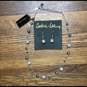 Cookie Lee crystal necklace & earring set
